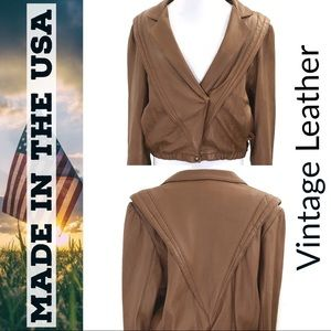 🇺🇸 Vintage Cognac Moto Leather Jacket Retro